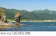 Купить «Cape Velikan, stone giant nature sculpture, Sakhalin Russia», фото № 26553398, снято 4 августа 2010 г. (c) Сергей Майоров / Фотобанк Лори
