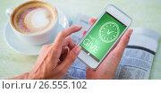Купить «Composite image of digitally generated image of time to give text with clock icon», фото № 26555102, снято 27 марта 2019 г. (c) Wavebreak Media / Фотобанк Лори