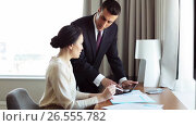 Купить «business team with papers and tablet pc at hotel», видеоролик № 26555782, снято 16 июля 2019 г. (c) Syda Productions / Фотобанк Лори