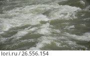 Waves, foam, spray in the stream of the Katun River. Стоковое видео, видеограф Great Siberia Studio / Фотобанк Лори