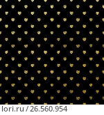 Купить «Gold seamless hearts on black. EPS 10», иллюстрация № 26560954 (c) Владимир / Фотобанк Лори