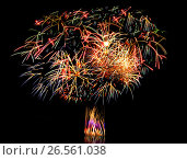 Купить «Beautiful fireworks in a night sky», фото № 26561038, снято 9 августа 2015 г. (c) ElenArt / Фотобанк Лори