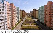 Купить «Aerial view of new housing estate in the russian city - Voronezh. June 1, 2017 Russia. 4K», видеоролик № 26565206, снято 1 июня 2017 г. (c) ActionStore / Фотобанк Лори