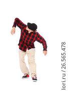 Купить «teenage boy hip hop dancer on white», фото № 26565478, снято 5 сентября 2012 г. (c) Tatjana Romanova / Фотобанк Лори