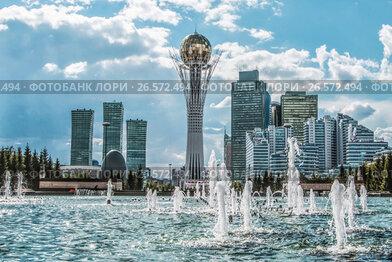 Купить «Казахстан. Астана. Красивый городской пейзаж», фото № 26572494, снято 10 июня 2017 г. (c) Сергеев Валерий / Фотобанк Лори