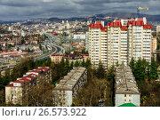 Купить «Сочи, вид сверху  на городскую застройку в Центральном районе», фото № 26573922, снято 22 июля 2019 г. (c) glokaya_kuzdra / Фотобанк Лори
