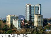 Купить «Сочи, вид сверху на городскую застройку в Центральном районе», фото № 26574342, снято 25 августа 2019 г. (c) glokaya_kuzdra / Фотобанк Лори
