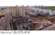 Купить «Aerial shot of russian city - Voronezh. The urban landscape. June 1, 2017 Russia. 4K», видеоролик № 26575414, снято 1 июня 2017 г. (c) ActionStore / Фотобанк Лори