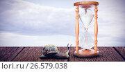Купить «Composite image of hourglass», фото № 26579038, снято 17 января 2019 г. (c) Wavebreak Media / Фотобанк Лори