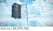 Купить «Composite image of blue matrix and codes», фото № 26579142, снято 17 июля 2019 г. (c) Wavebreak Media / Фотобанк Лори