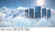Купить «Composite image of blue matrix and codes», фото № 26579162, снято 21 июля 2019 г. (c) Wavebreak Media / Фотобанк Лори