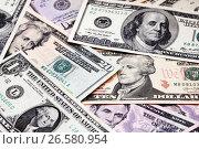Купить «Американские доллары различного достоинства», фото № 26580954, снято 23 апреля 2014 г. (c) Александр Гаценко / Фотобанк Лори