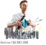 Купить «Business super hero double exposure», фото № 26581358, снято 18 октября 2018 г. (c) Сергей Петерман / Фотобанк Лори