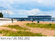Купить «Вид на стадион Сагкт-Петербург арена с пляжа парка 300-летия Санкт-Петербурга», эксклюзивное фото № 26582282, снято 25 июня 2017 г. (c) Александр Щепин / Фотобанк Лори