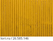 Купить «old yellow painted metal ribbed surface», фото № 26585146, снято 27 июня 2016 г. (c) Syda Productions / Фотобанк Лори