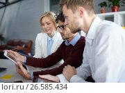Купить «business team with tablet pc at office», фото № 26585434, снято 1 октября 2016 г. (c) Syda Productions / Фотобанк Лори