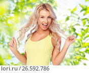 happy smiling young woman with blonde hair. Стоковое фото, фотограф Syda Productions / Фотобанк Лори