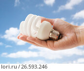 Купить «close up of hand holding energy saving lightbulb», фото № 26593246, снято 3 июня 2016 г. (c) Syda Productions / Фотобанк Лори