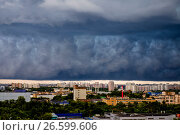 Купить «Москва, грозовые тучи над городом», фото № 26599606, снято 30 июня 2017 г. (c) glokaya_kuzdra / Фотобанк Лори