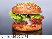 Купить «Burger With Vegetables», фото № 26601174, снято 22 марта 2017 г. (c) Андрей Скат / Фотобанк Лори