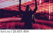 Купить «Dancing girl DJ in a nightclub», видеоролик № 26601454, снято 6 декабря 2019 г. (c) Raev Denis / Фотобанк Лори