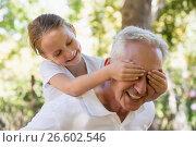 Купить «Girl covering his grandpa's eyes in the forest», фото № 26602546, снято 2 марта 2017 г. (c) Wavebreak Media / Фотобанк Лори