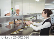 Купить «Chef handing food dish to waitress at order station», фото № 26602686, снято 13 марта 2017 г. (c) Wavebreak Media / Фотобанк Лори