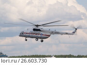 Купить «Международный авиационно-космический салон МАКС-2015. Полет вертолета МЧС Миль Ми-8МТ с бортовым номером RF-32831», фото № 26603730, снято 23 августа 2015 г. (c) Малышев Андрей / Фотобанк Лори