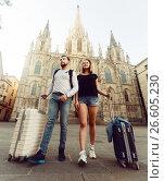 Купить «Couple going the historic city center», фото № 26605230, снято 25 мая 2017 г. (c) Яков Филимонов / Фотобанк Лори
