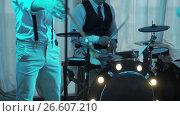 Купить «SAINT-PETERSBURG, RUSSIA, JUNE 17, 2017: Music band on a stage», видеоролик № 26607210, снято 17 июня 2017 г. (c) Алексей Макаров / Фотобанк Лори