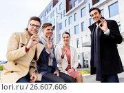 Купить «international business team showing ok hand sign», фото № 26607606, снято 13 мая 2017 г. (c) Syda Productions / Фотобанк Лори