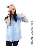 Funny young teenager in hat shows thumb up, фото № 26609454, снято 5 сентября 2012 г. (c) Tatjana Romanova / Фотобанк Лори