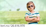 Купить «Boy with sunglasses arms folded against meadow», фото № 26616970, снято 9 апреля 2020 г. (c) Wavebreak Media / Фотобанк Лори