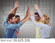 Купить «Millennial team high fiving against grey hand drawn windows», фото № 26625326, снято 18 октября 2018 г. (c) Wavebreak Media / Фотобанк Лори
