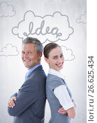 Купить «Business people back to back against white wall with idea doodle», фото № 26625434, снято 27 мая 2020 г. (c) Wavebreak Media / Фотобанк Лори