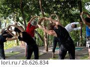 Купить «Six Senses Resort, Koh Yao Noi, Phang Nga Bay, Thailand, Asia. Yoga morning class. Daily morning yoga with a stunning view. Six Senses Yao Noi sets the...», фото № 26626834, снято 6 января 2017 г. (c) age Fotostock / Фотобанк Лори