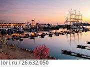Купить «Сочи,  акватория морского порта на закате солнца», фото № 26632050, снято 17 апреля 2019 г. (c) glokaya_kuzdra / Фотобанк Лори