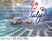 Купить «Fourth of July graphic against blurry street scene with flares», фото № 26632982, снято 23 февраля 2020 г. (c) Wavebreak Media / Фотобанк Лори