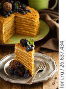Купить «Honey layered cake with berries», фото № 26637434, снято 1 октября 2016 г. (c) Елена Веселова / Фотобанк Лори