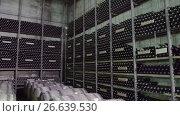 Купить «Bottles of wine in traditional wine cellar», видеоролик № 26639530, снято 18 июня 2017 г. (c) Илья Насакин / Фотобанк Лори