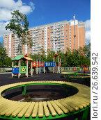 Купить «Детская игровая площадка во дворе жилых домов на 13-ой Парковой улице. Район Северное Измайлово. Город Москва», эксклюзивное фото № 26639542, снято 2 июня 2017 г. (c) lana1501 / Фотобанк Лори