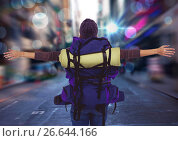 Купить «Back of millennial backpacker arms outstretched against blurry street with flares and bokeh», фото № 26644166, снято 19 января 2019 г. (c) Wavebreak Media / Фотобанк Лори
