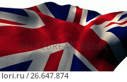 Купить «Union flag waving against white background», видеоролик № 26647874, снято 16 июля 2019 г. (c) Wavebreak Media / Фотобанк Лори