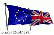 Купить «Union flag and European flag waving against white background», видеоролик № 26647898, снято 16 июля 2019 г. (c) Wavebreak Media / Фотобанк Лори