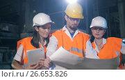 Купить «Team of engineers with drawings», видеоролик № 26653826, снято 11 июля 2017 г. (c) Илья Шаматура / Фотобанк Лори