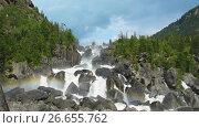 Rainbow at Uchar waterfall, Altai, Russia. Стоковое видео, видеограф Great Siberia Studio / Фотобанк Лори