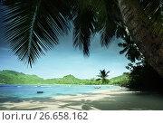 beach Anse Takamaka, Mahe island, Seychelles. Стоковое фото, фотограф Iakov Kalinin / Фотобанк Лори