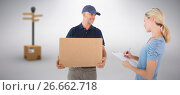 Купить «Composite image of happy blonde signing for a delivery», фото № 26662718, снято 20 июня 2019 г. (c) Wavebreak Media / Фотобанк Лори