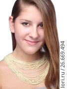 Купить «portrait of teenager with beads», фото № 26669494, снято 27 января 2012 г. (c) Tatjana Romanova / Фотобанк Лори
