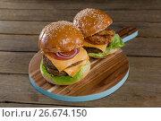 Купить «Hamburgers on chopping board», фото № 26674150, снято 13 января 2017 г. (c) Wavebreak Media / Фотобанк Лори